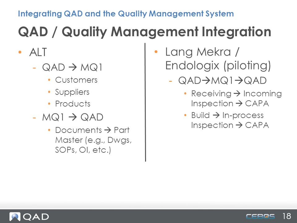 QAD / Quality Management Integration