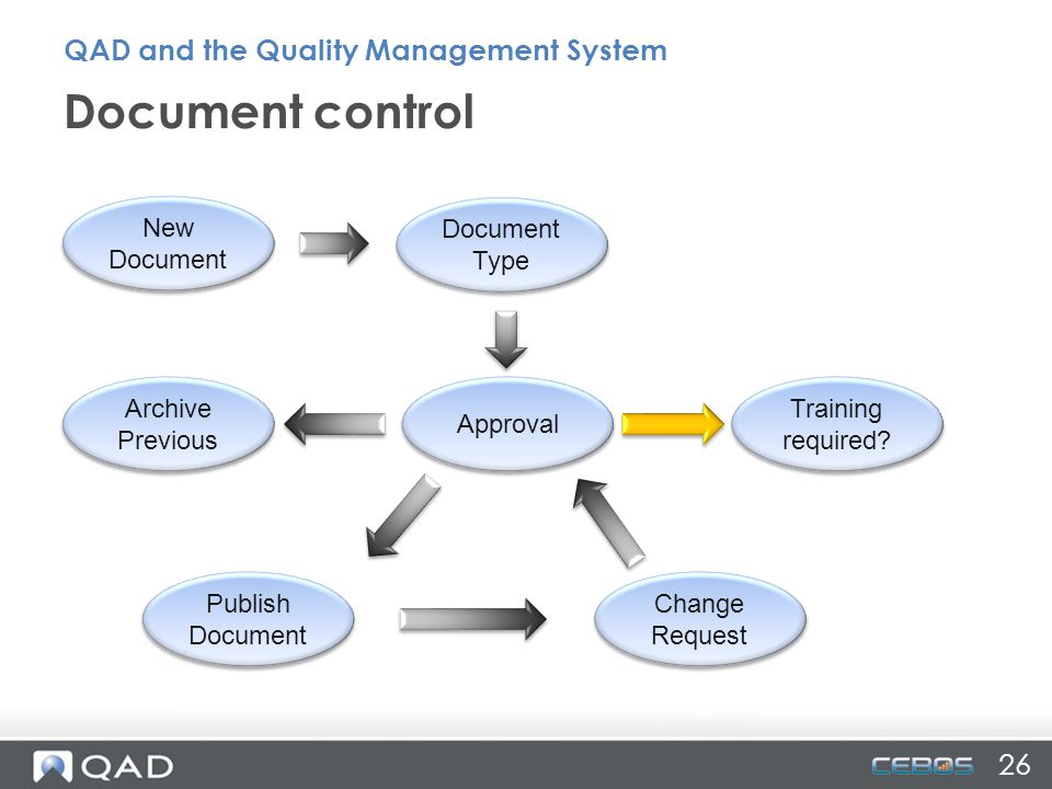 Document control QAD and the Quality Management System 26 New Document