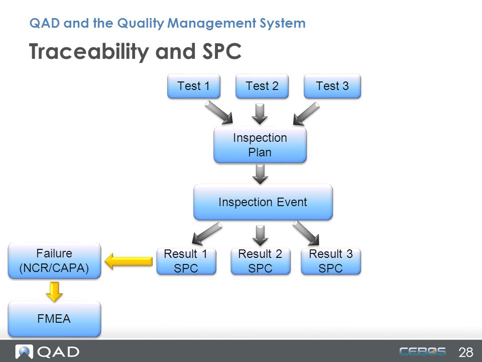 Traceability and SPC QAD and the Quality Management System 28 Test 1