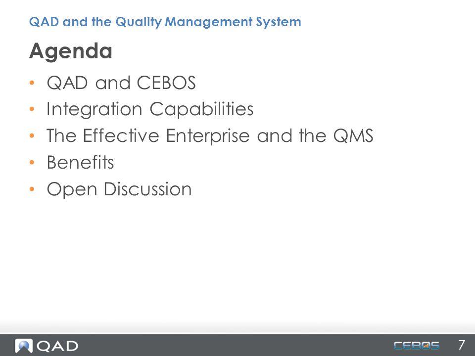 Agenda QAD and CEBOS Integration Capabilities