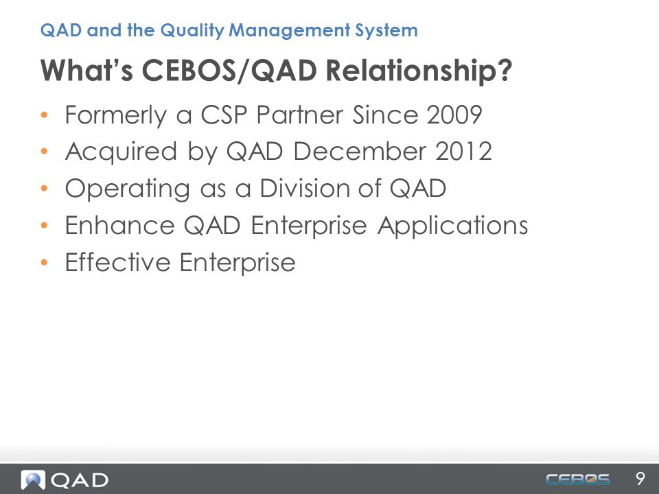 What's CEBOS/QAD Relationship