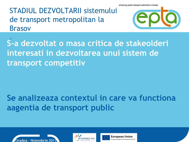 STADIUL DEZVOLTARII sistemului de transport metropolitan la Brasov .