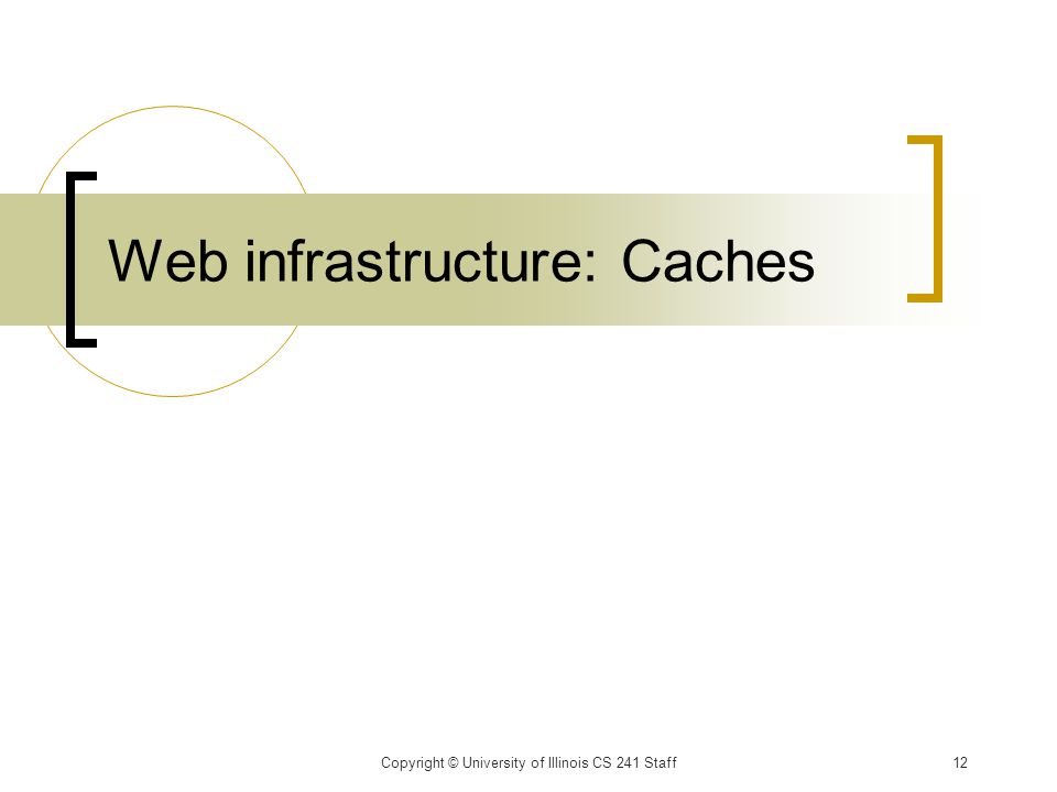 Web infrastructure: Caches