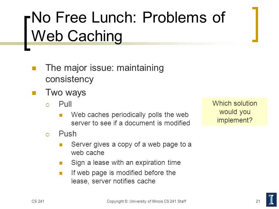 No Free Lunch: Problems of Web Caching