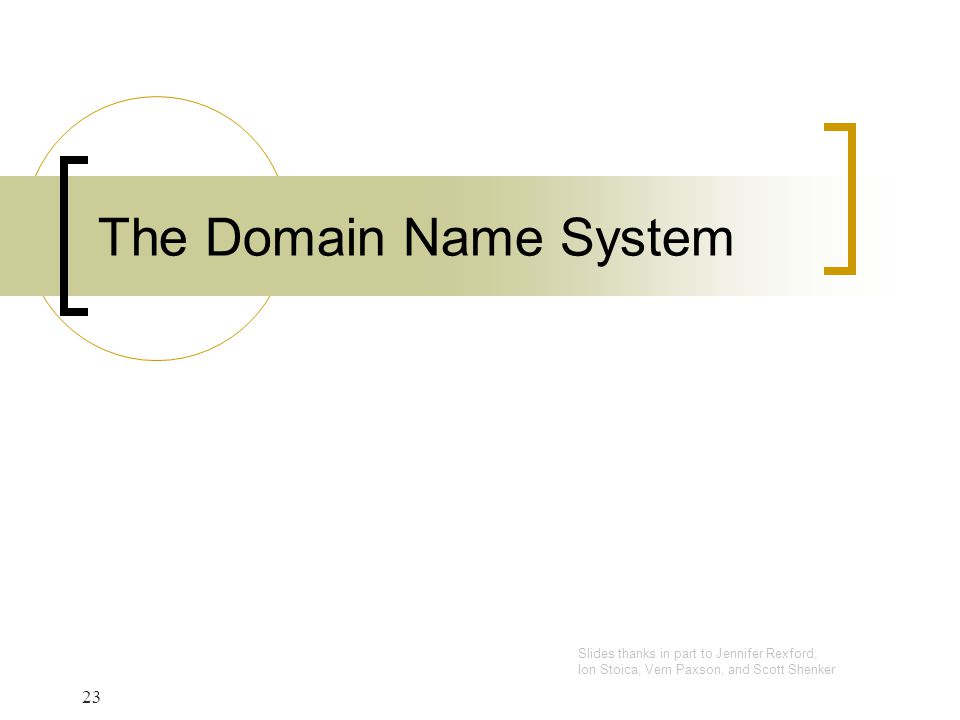 The Domain Name System Slides thanks in part to Jennifer Rexford,