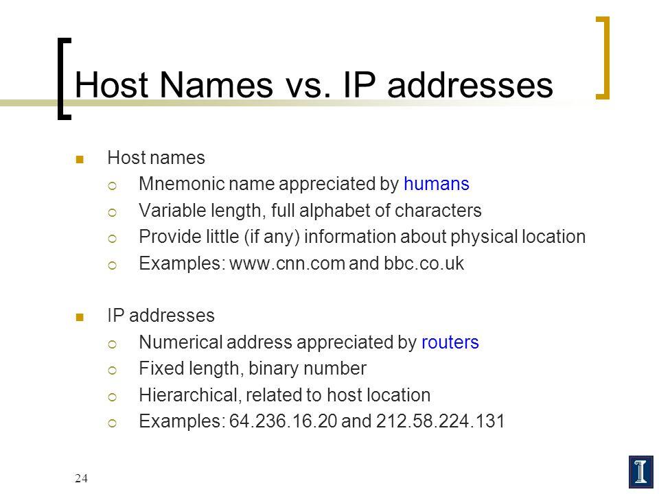 Host Names vs. IP addresses