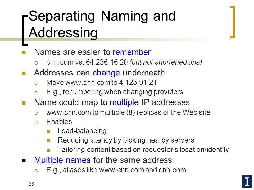 Separating Naming and Addressing