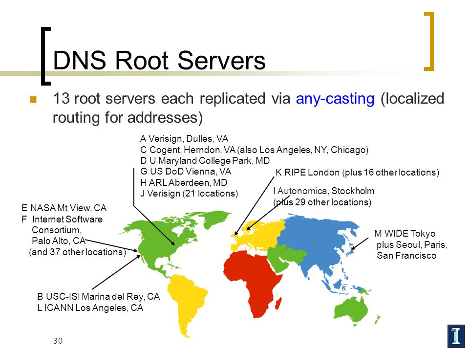 DNS Root Servers 13 root servers each replicated via any-casting (localized routing for addresses) A Verisign, Dulles, VA.