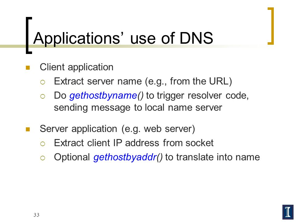 Applications' use of DNS