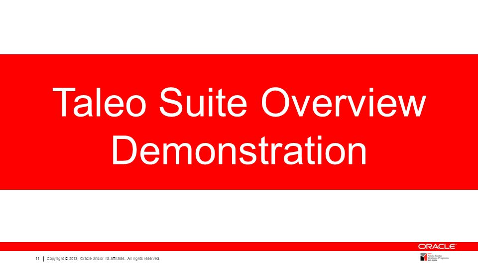 Taleo Suite Overview Demonstration