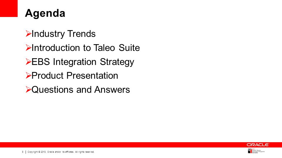 Agenda Industry Trends Introduction to Taleo Suite