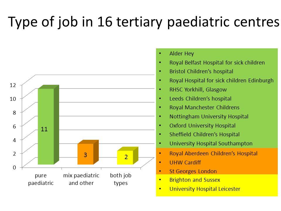 Type of job in 16 tertiary paediatric centres
