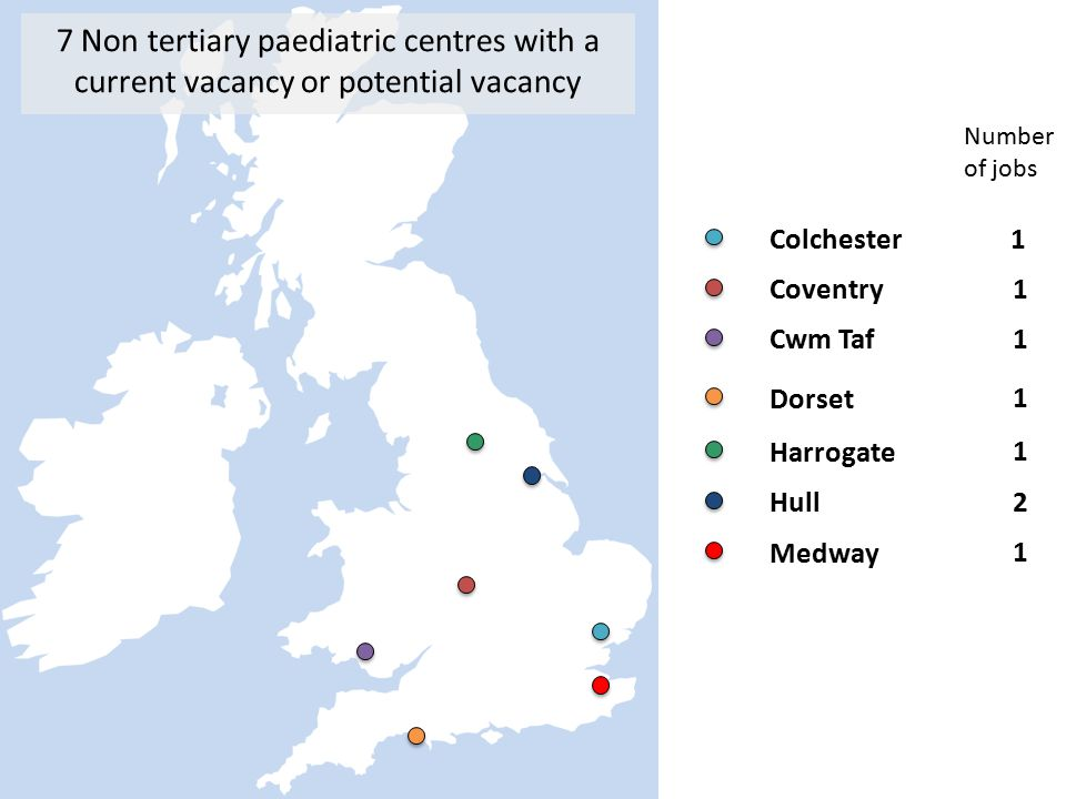 7 Non tertiary paediatric centres with a current vacancy or potential vacancy