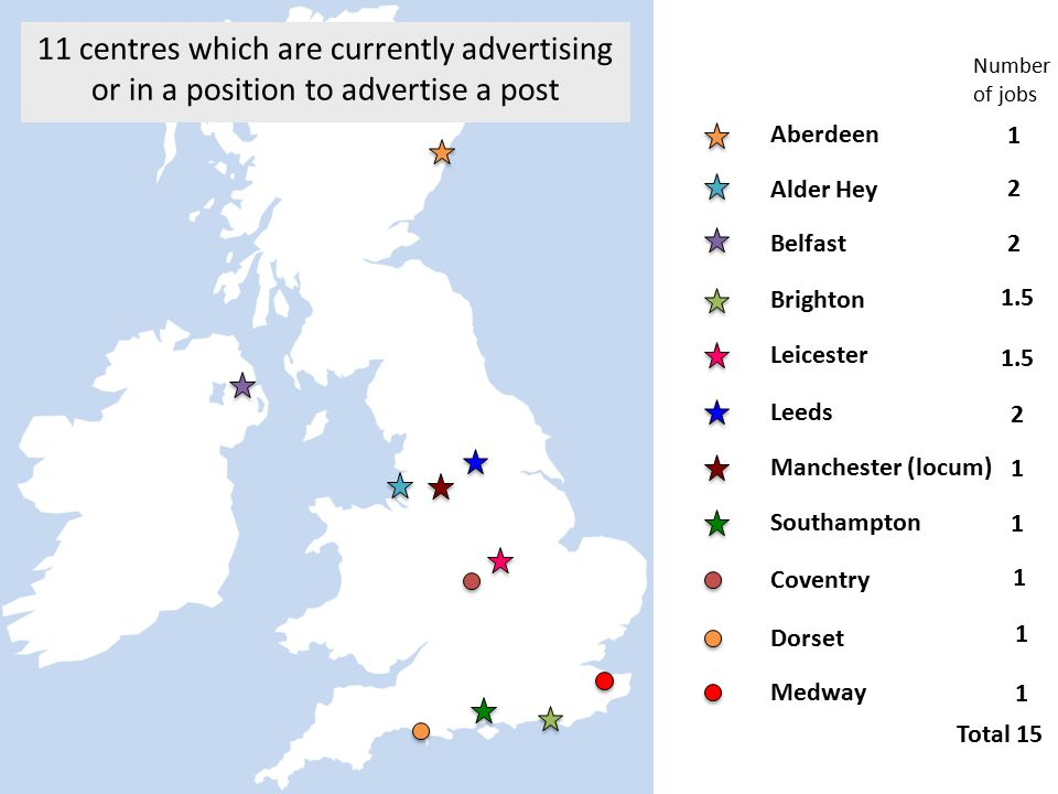 11 centres which are currently advertising or in a position to advertise a post