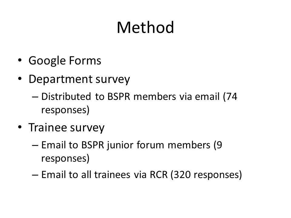 Method Google Forms Department survey Trainee survey
