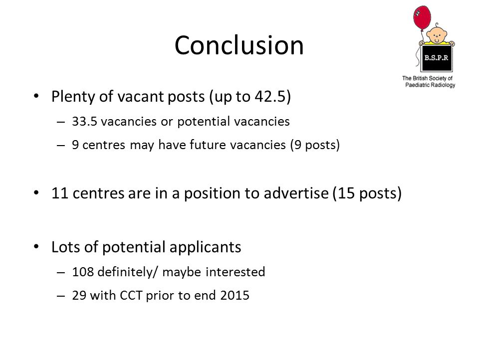 Conclusion Plenty of vacant posts (up to 42.5)