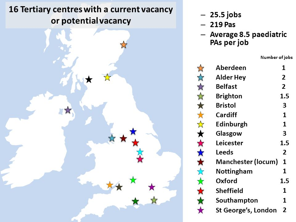 16 Tertiary centres with a current vacancy or potential vacancy