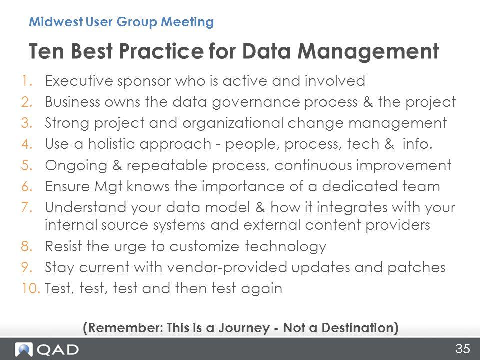 Ten Best Practice for Data Management