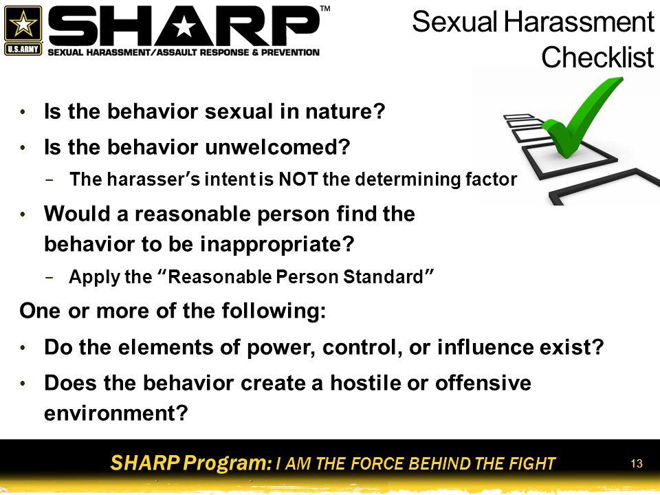 Sexual Harassment Checklist