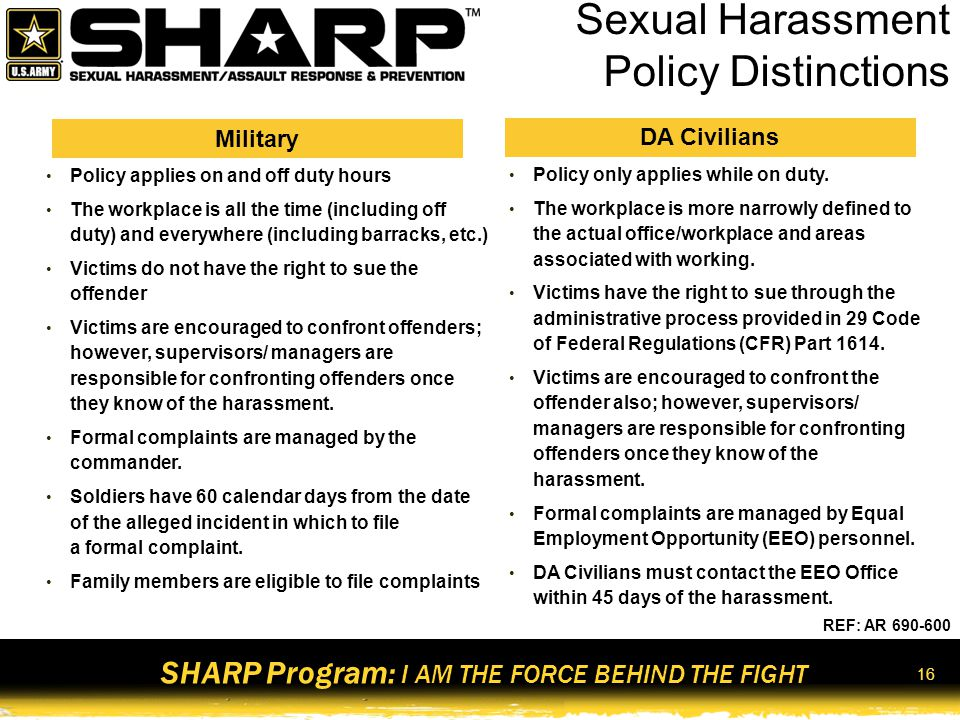 Sexual Harassment Policy Distinctions