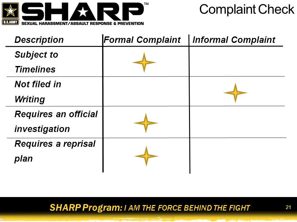 Complaint Check Module 1: Get SHARP!