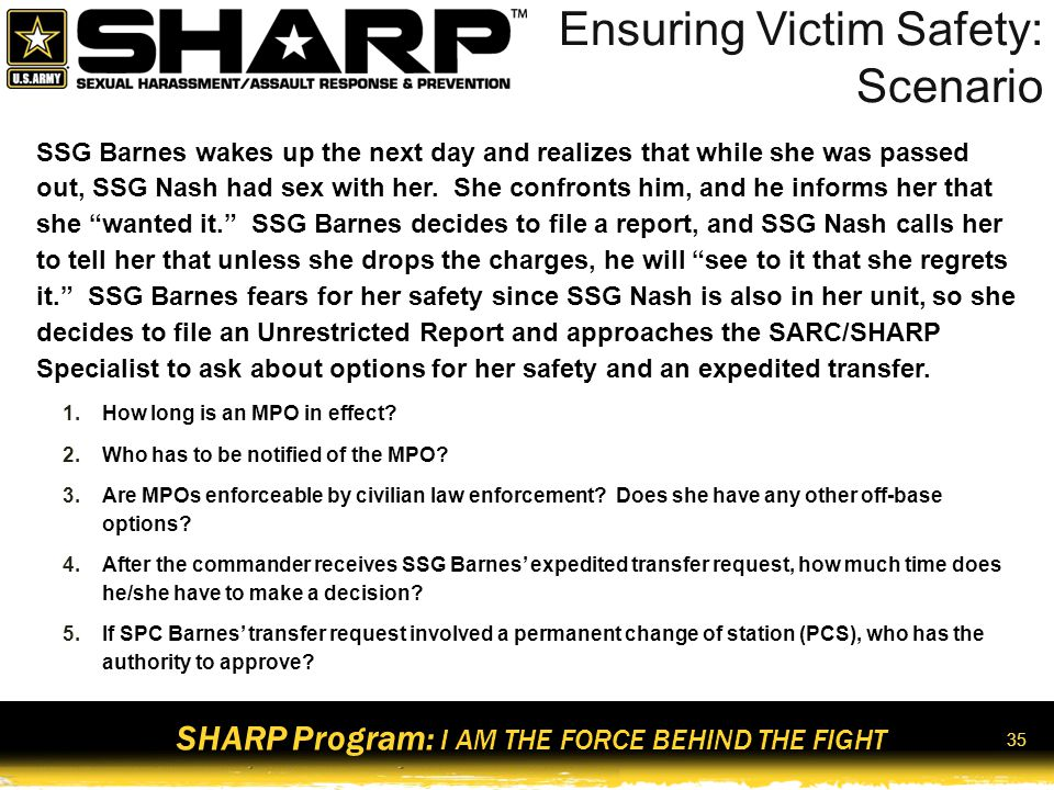 Ensuring Victim Safety: Scenario