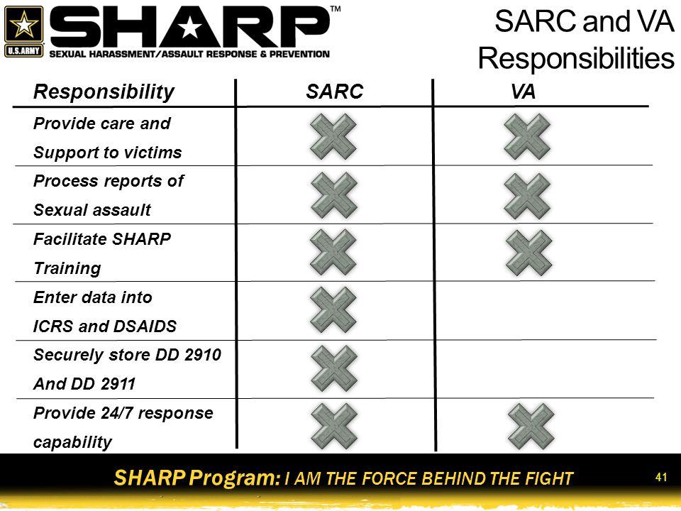 SARC and VA Responsibilities Responsibility SARC VA Provide care and