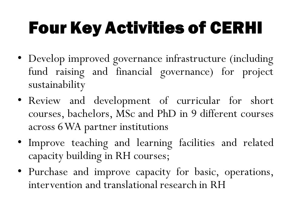 Four Key Activities of CERHI