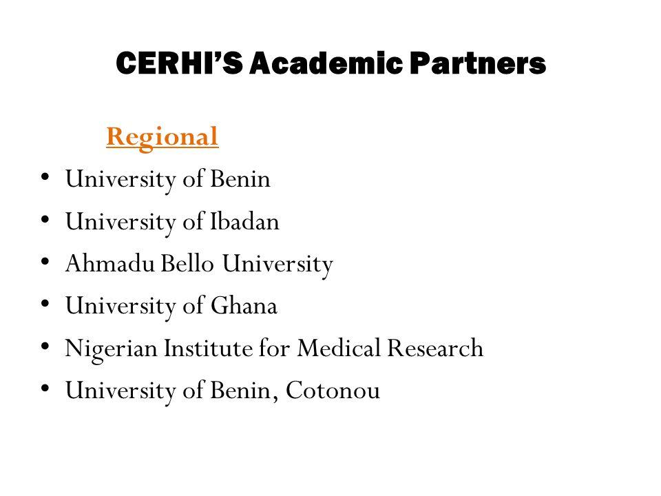 CERHI'S Academic Partners