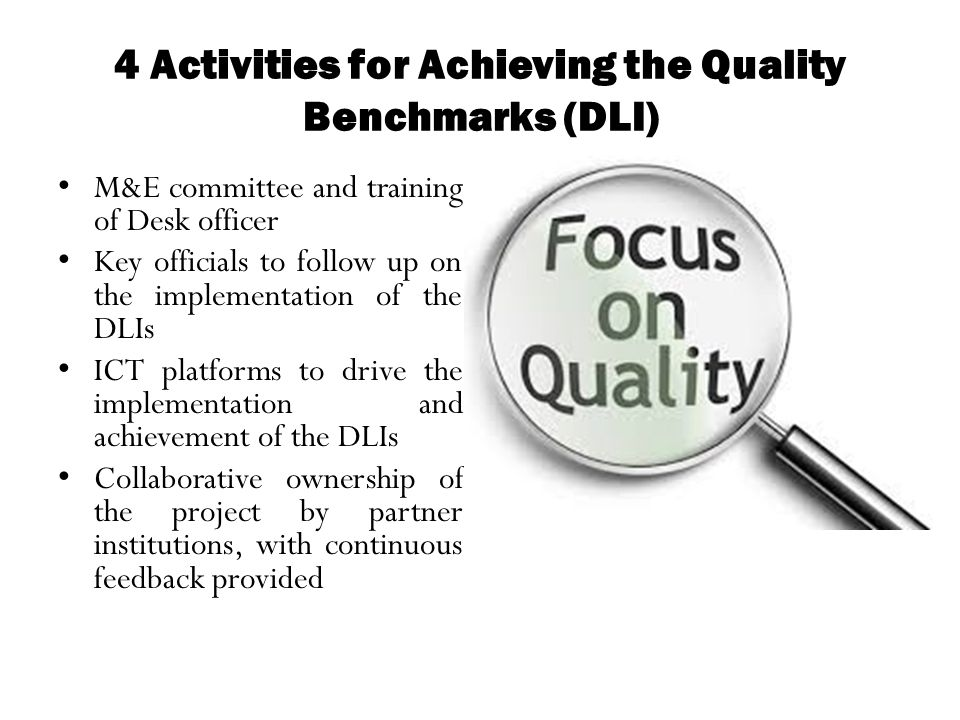 4 Activities for Achieving the Quality Benchmarks (DLI)