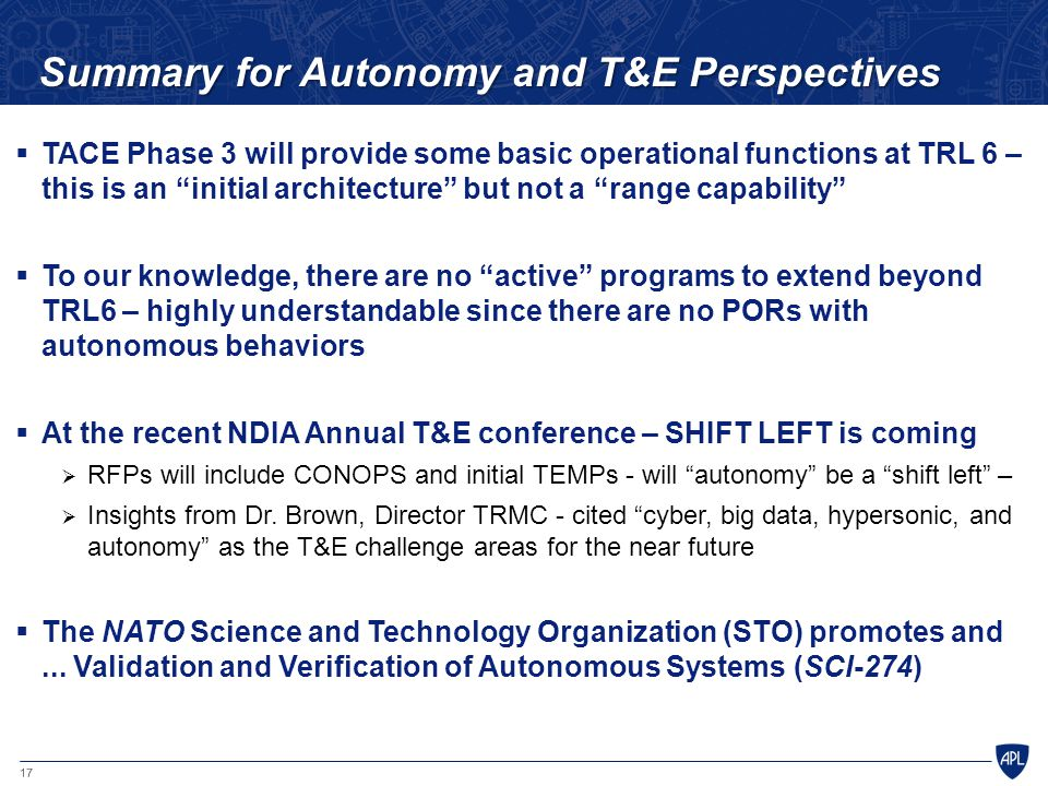 Summary for Autonomy and T&E Perspectives