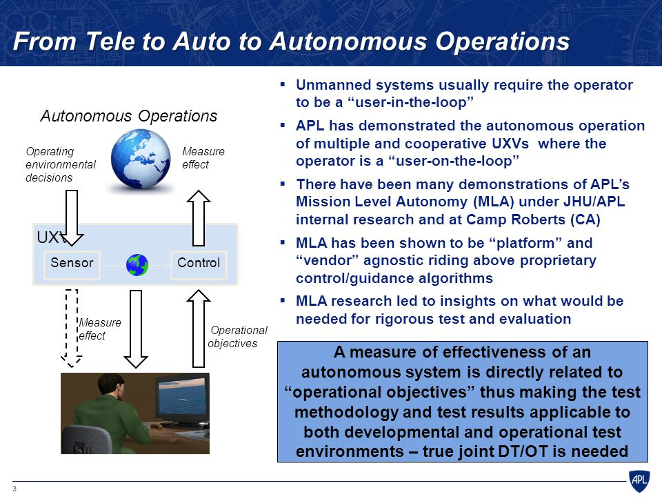 From Tele to Auto to Autonomous Operations
