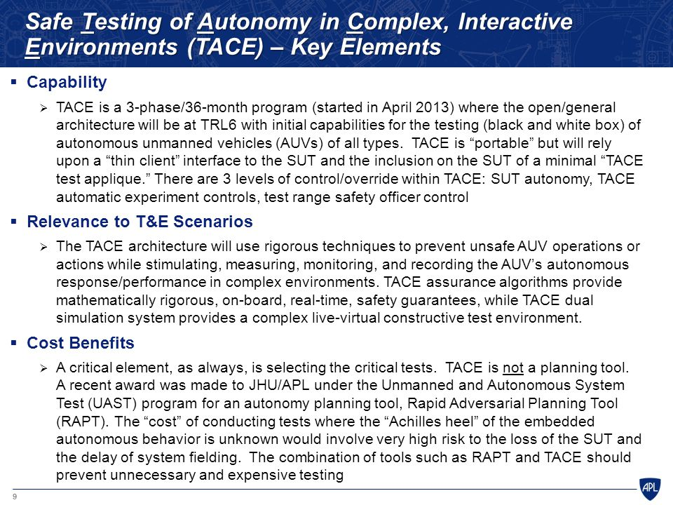 Safe Testing of Autonomy in Complex, Interactive Environments (TACE) – Key Elements