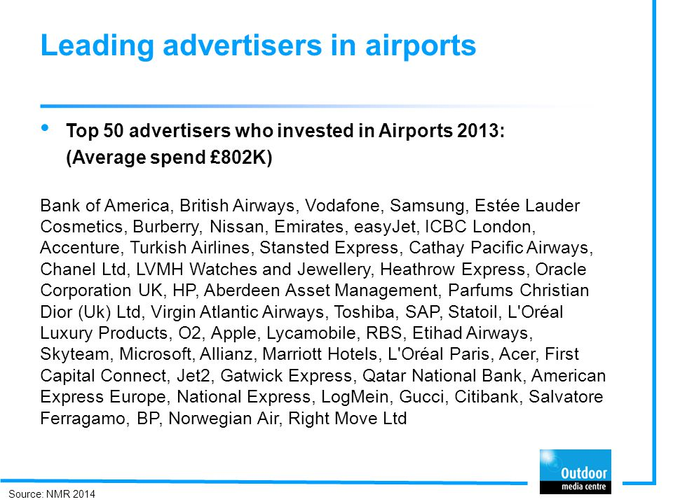 Leading advertisers in airports