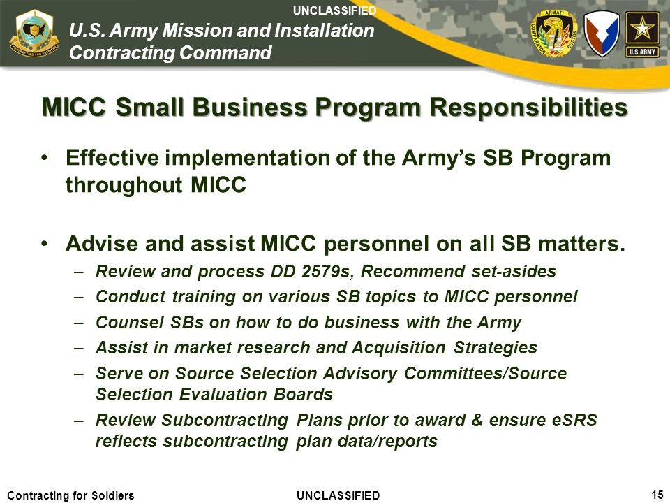 MICC Small Business Program Responsibilities