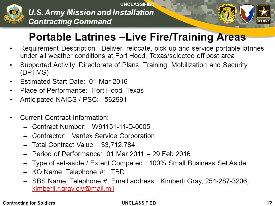 Portable Latrines –Live Fire/Training Areas