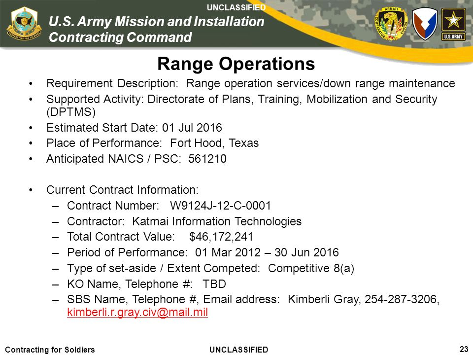 Range Operations Requirement Description: Range operation services/down range maintenance.