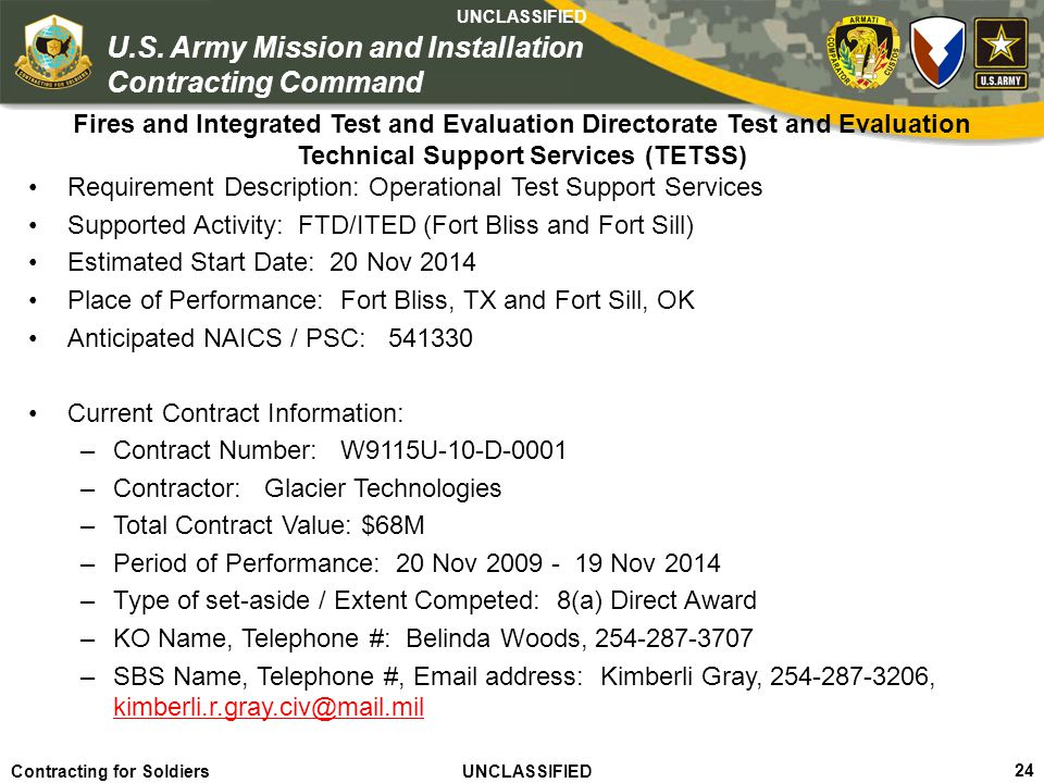Requirement Description: Operational Test Support Services