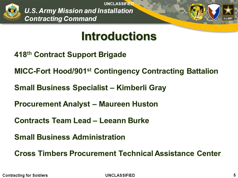 Introductions 418th Contract Support Brigade