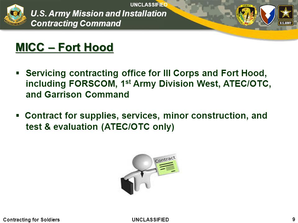 MICC – Fort Hood including FORSCOM, 1st Army Division West, ATEC/OTC,