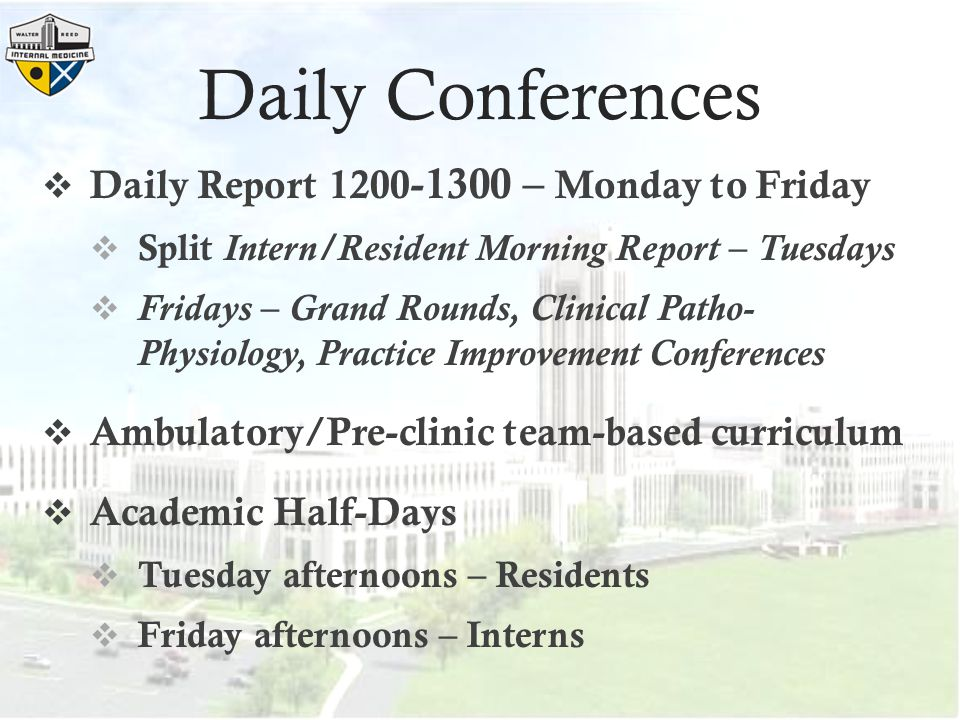 Daily Conferences Daily Report 1200-1300 – Monday to Friday