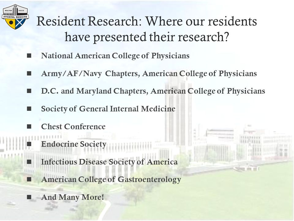 Resident Research: Where our residents have presented their research