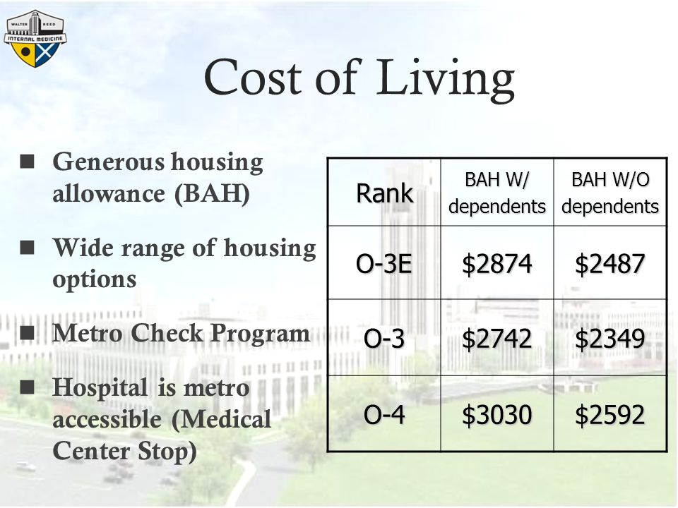 Cost of Living Generous housing allowance (BAH)