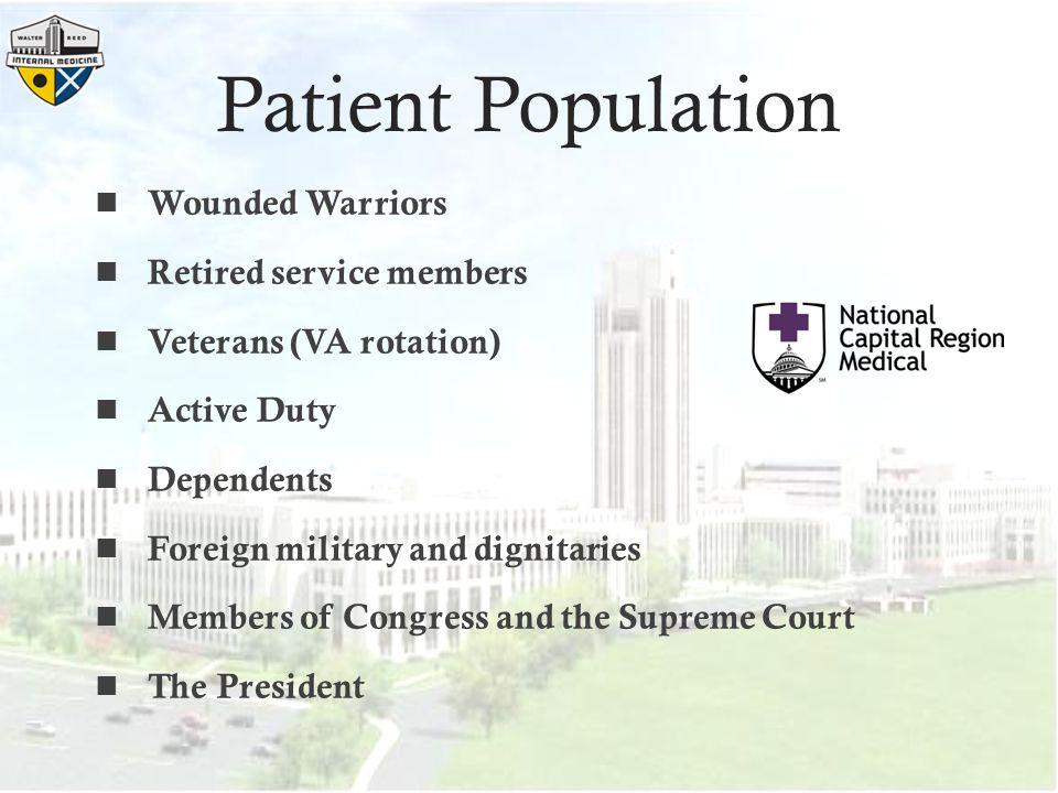 Patient Population Wounded Warriors Retired service members
