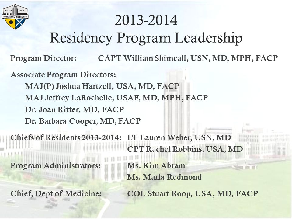 2013-2014 Residency Program Leadership