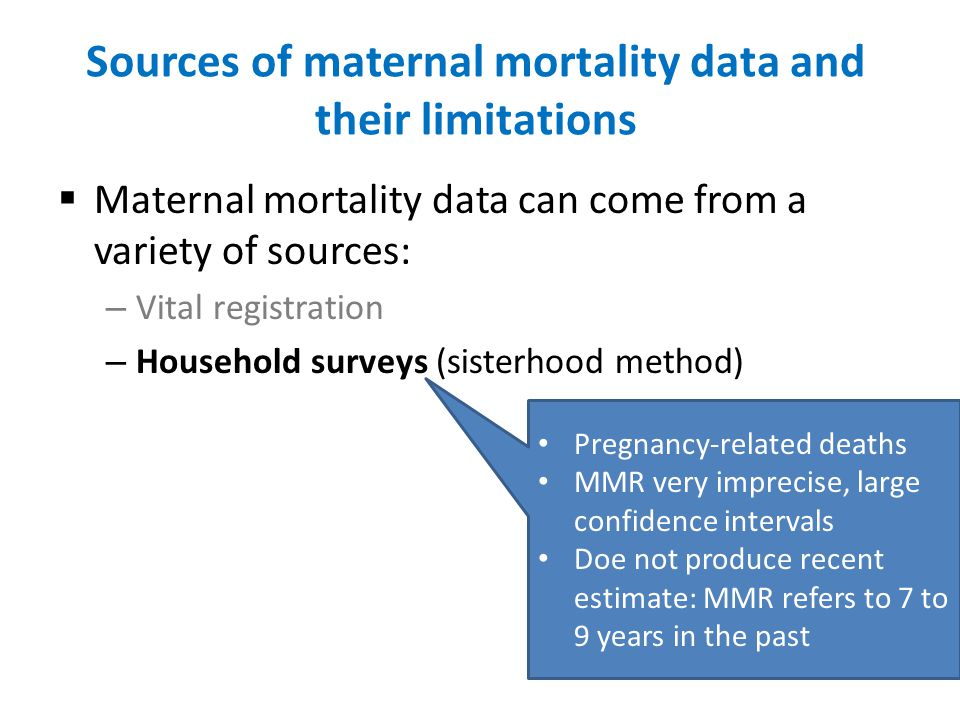 Sources of maternal mortality data and their limitations