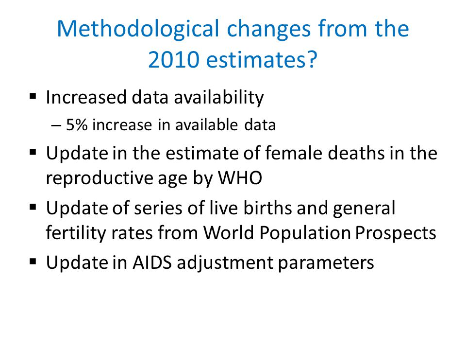 Methodological changes from the 2010 estimates