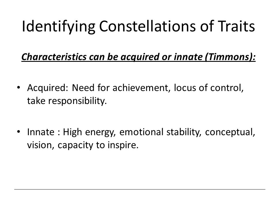 Identifying Constellations of Traits
