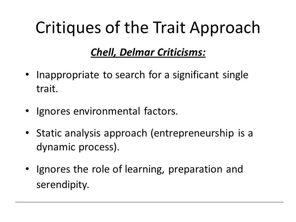 Critiques of the Trait Approach