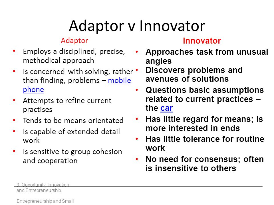 Adaptor v Innovator Adaptor Innovator